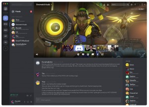 An example of screensharing with text chat on Discord.